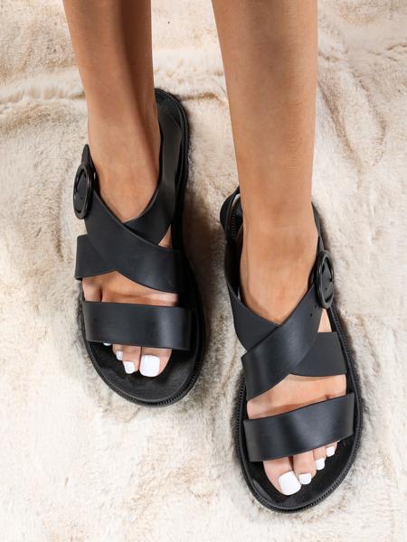 Cross Strap Eyelet Buckle Detail Sport Sandals