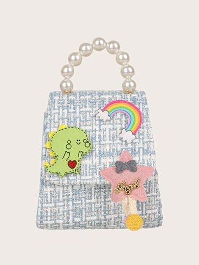Faux Pearl Handle Mini Satchel Bag