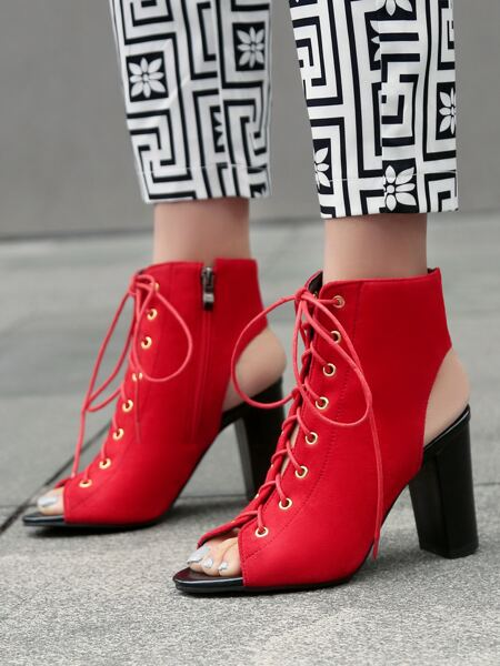 Lace-up Front Chunky Sandal Boots