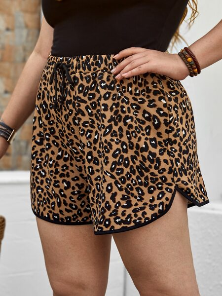 Plus Leopard Print Drawstring Shorts