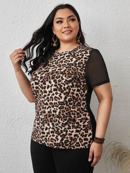 Plus Contrast Mesh Leopard Top