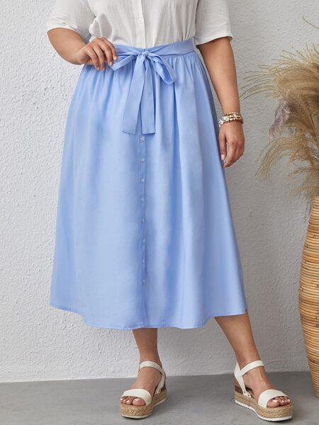 Plus Button Front Self Tie Skirt