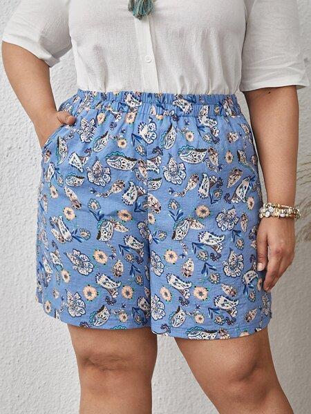 Plus Paisley & Floral Print Shorts
