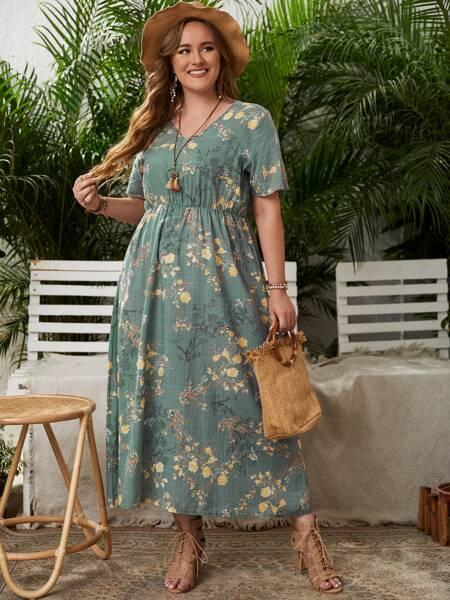 Plus Allover Floral Print A-line Dress
