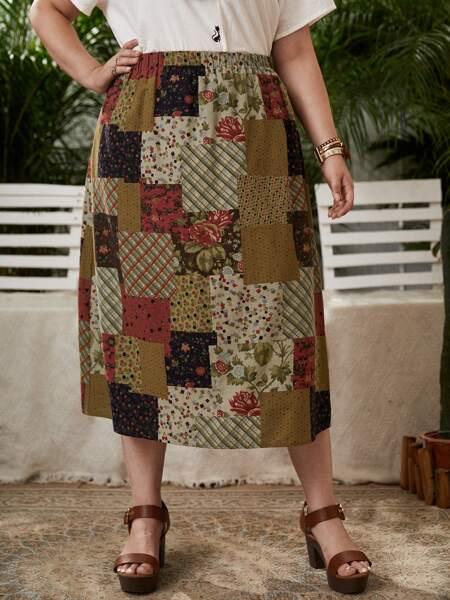 Plus Floral & Patchwork Print Skirt