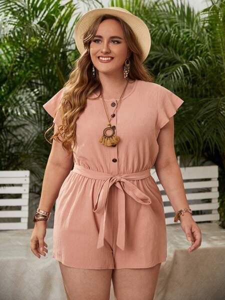 Plus Button Front Belted Romper