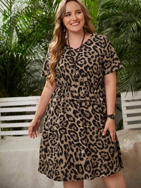 Plus Leopard Print A-line Dress