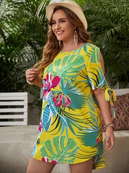 Plus Tropical Print Knot Cuff Tunic Dress