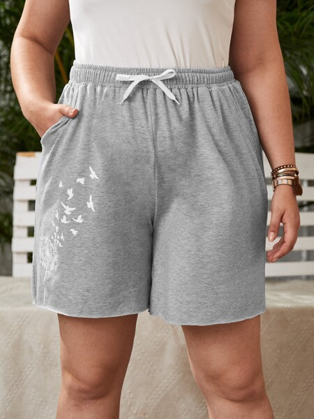 Plus Dandelion Print Knot Front Track Shorts