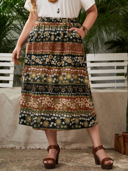 Plus Floral Slant Pockets Straight Skirt