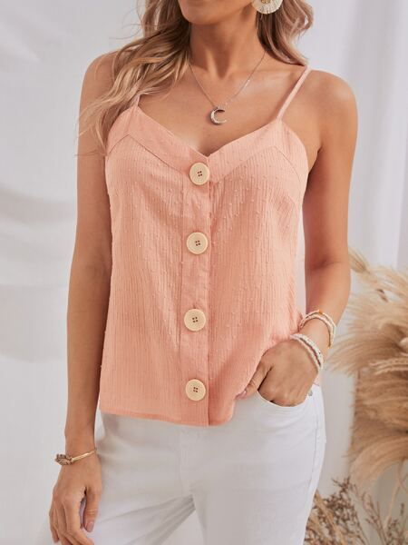 Buttoned Front Swiss Dot Cami Top