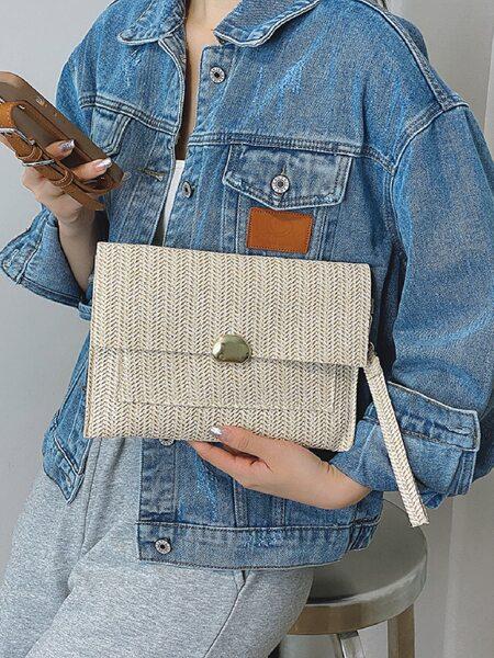 Minimalist Straw Bag With Wristlet