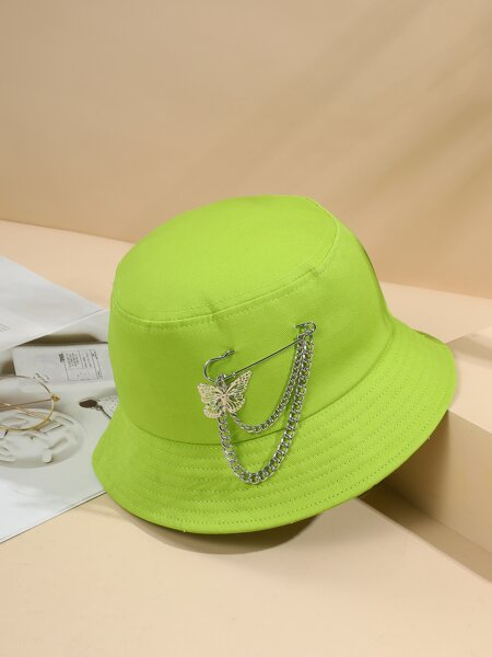 Safety Pin & Butterfly Decor Bucket Hat