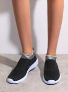 Striped Graphic Slip-On Sneakers