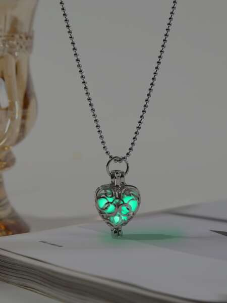 Glow In The Dark Heart Charm Necklace