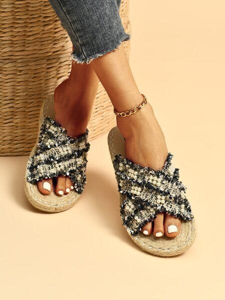 Faux Pearl Decor Cross Strap Slide Sandals