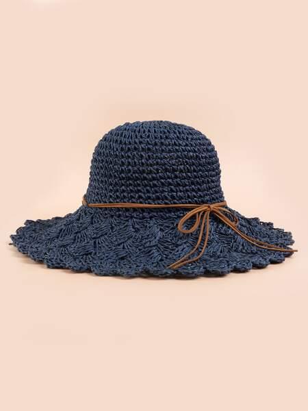 Bow Knot Decor Straw Hat