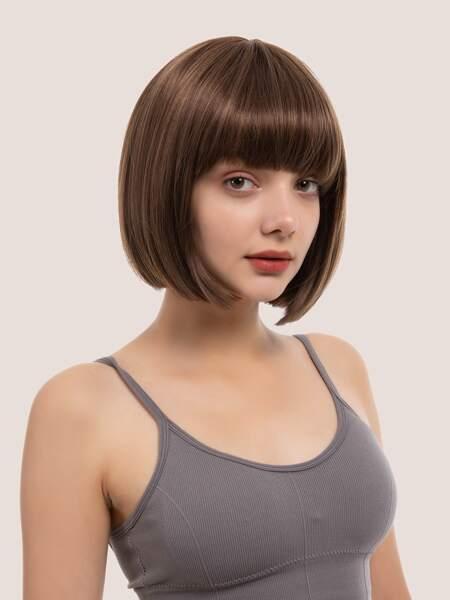 Natural Short Straight Wig With Bangs