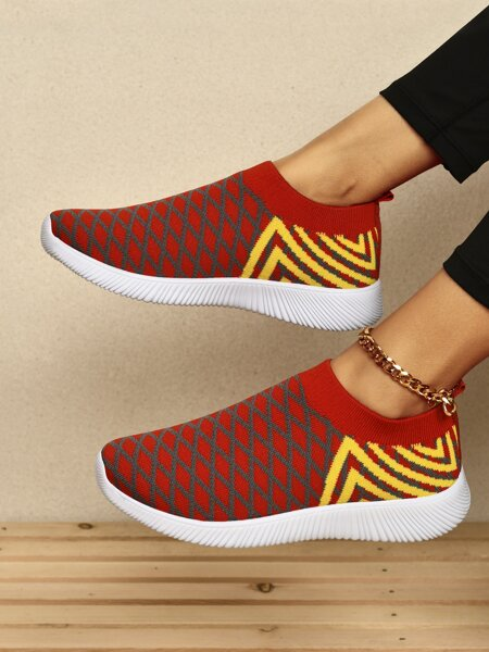 Geo Graphic Slip On Knit Running Shoes