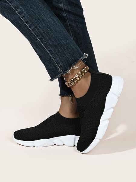 Minimalist Mesh Panel Slip-On Sneakers