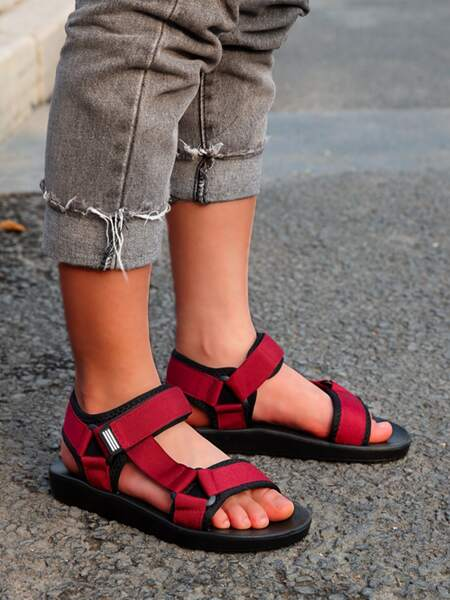 Triangle Linked Velcro Strap Sandals
