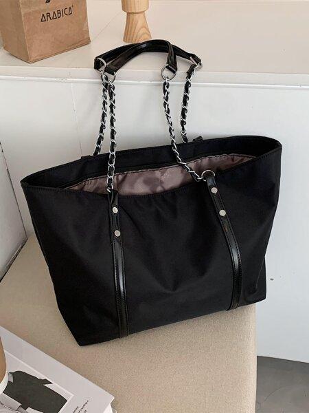 Minimalist Chain Decor Shoulder Tote Bag