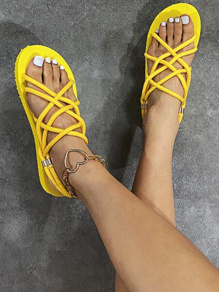 Minimalist Braided Design Strappy Sandals