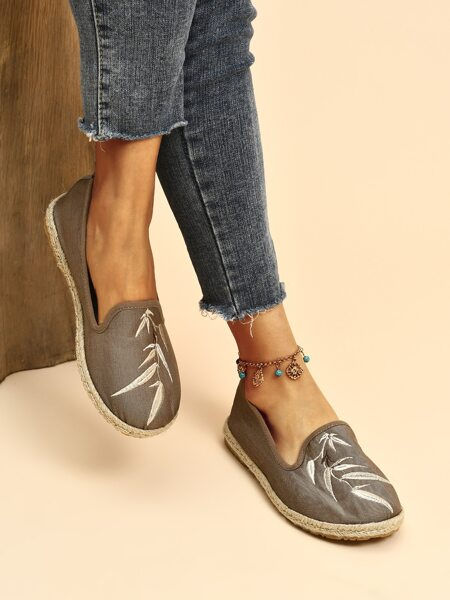 Plant Embroidery Espadrille Flats