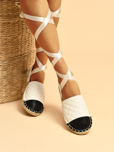 Two Tone Quilted Tie Leg Espadrille Flats