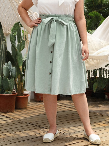 Plus Button Front Paperbag Waist Belted Skirt
