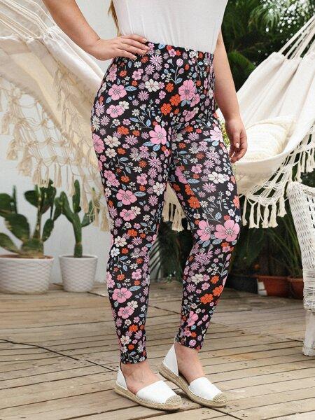 Plus Floral Print Leggings