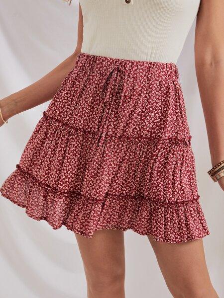 Ditsy Floral Print Knot Waist Skirt