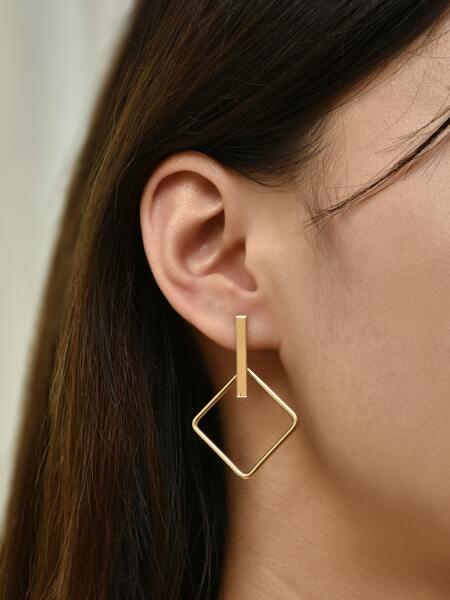 Hollow Out Geo Drop Earrings
