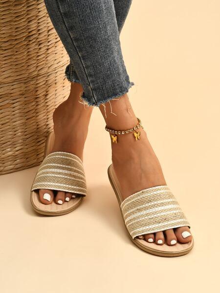 Striped Open Toe Slides