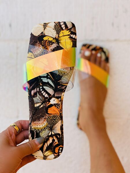 Holographic Criss Cross Slide Sandals
