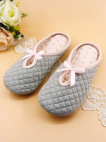 Bow Decor Quilted Bedroom Slippers