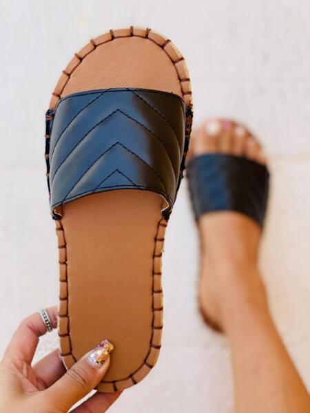 Minimalist Quilted Slide Sandals