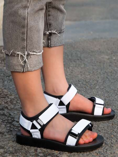 Two Tone Velcro Strap Sandals