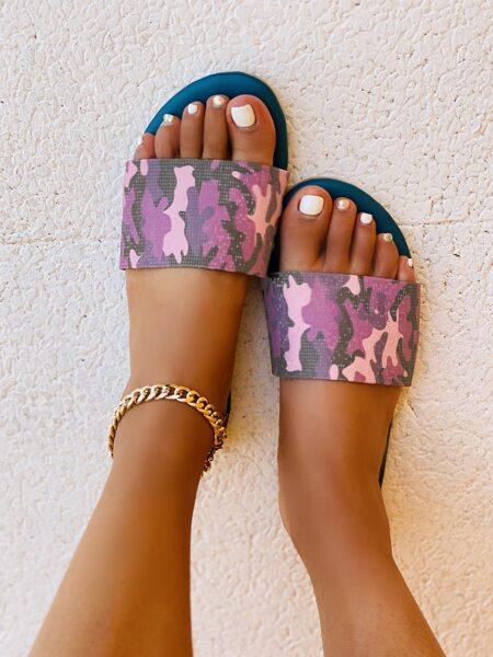 Camo Print Slide Sandals