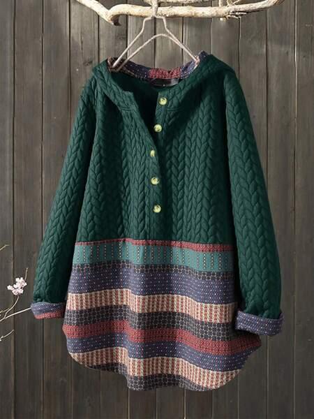 Contrast Geo Hooded Sweatshirt