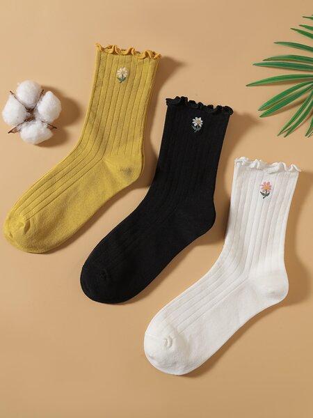 3pairs Flower Print Crew Socks