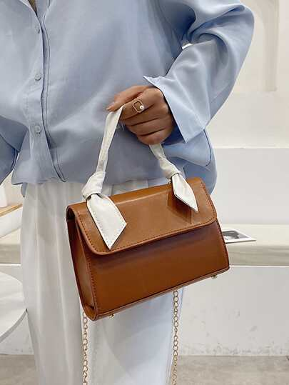 Colorblock Knot Handle Satchel Bag