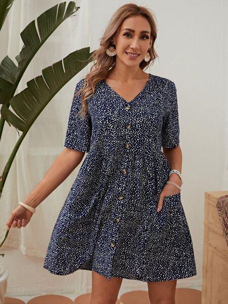 Buttoned Front Dalmatian Dress