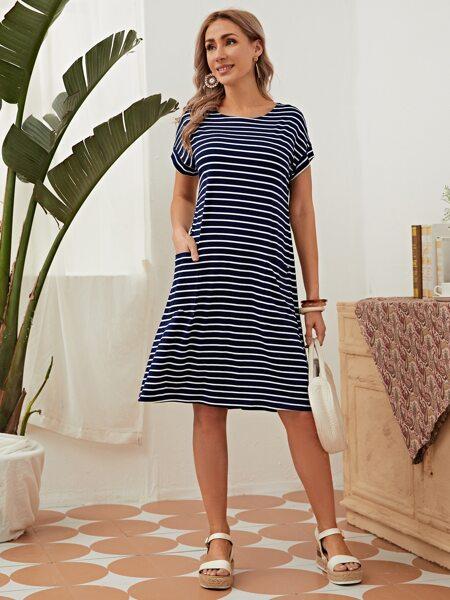 Batwing Sleeve Pocket Detail Striped Dress