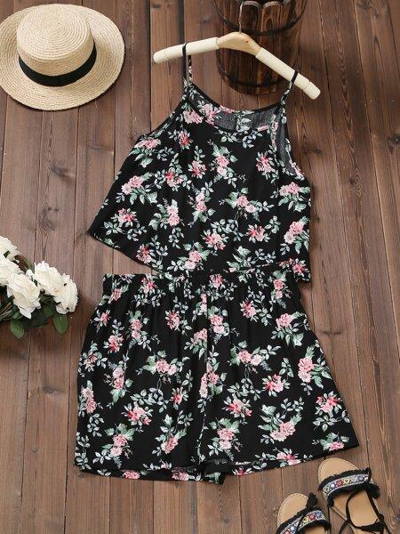 Plus Allover Floral Cami Top & Shorts