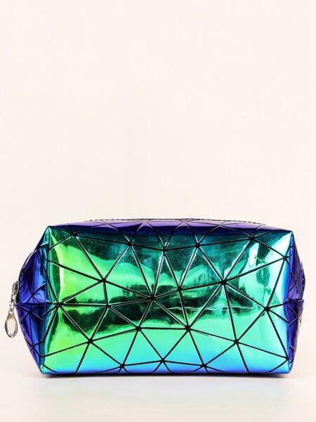 Geometric Metallic Square Makeup Bag