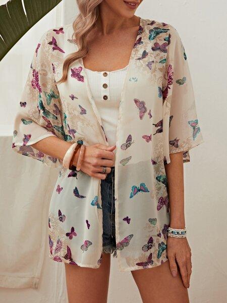 Allover Butterfly Print Kimono