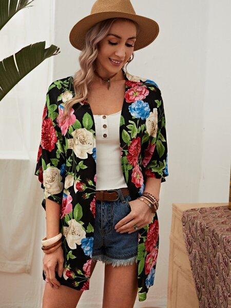 Allover Flower Print Kimono