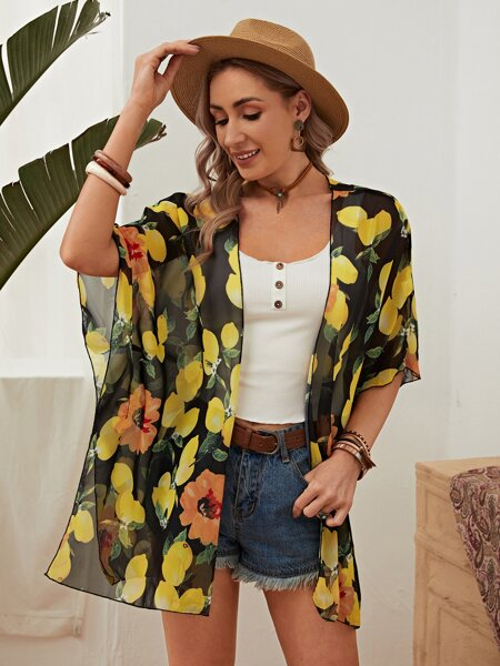 Allover Fruit Print Kimono