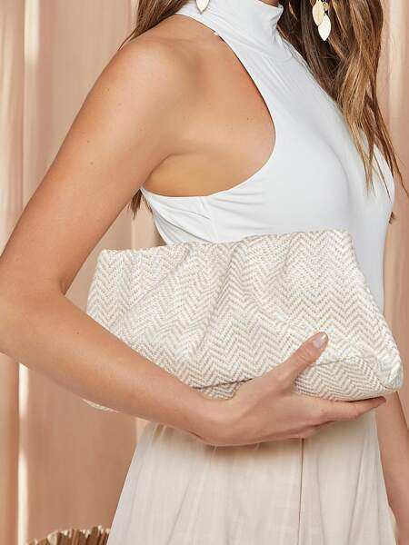 Chevron Ruched Design Clutch Bag